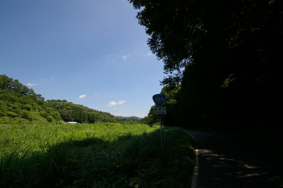飯石広域農道交差点から国道184を振り返る